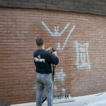 Nettoyage d'un graffiti à Douai